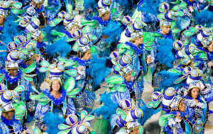 Second day of Carnival. The streets of Rio de Janeiro erupt with colour and noise as Carnival ushers in the Easter period.