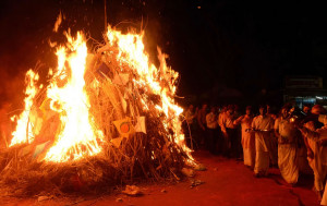 The day before Holi commemorates the burning of the demon Holika
