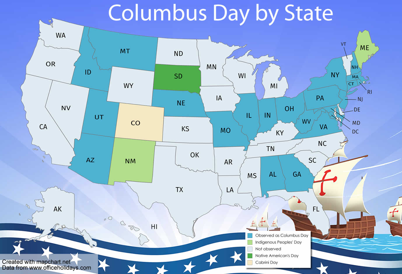 Map of Columbus Day by State