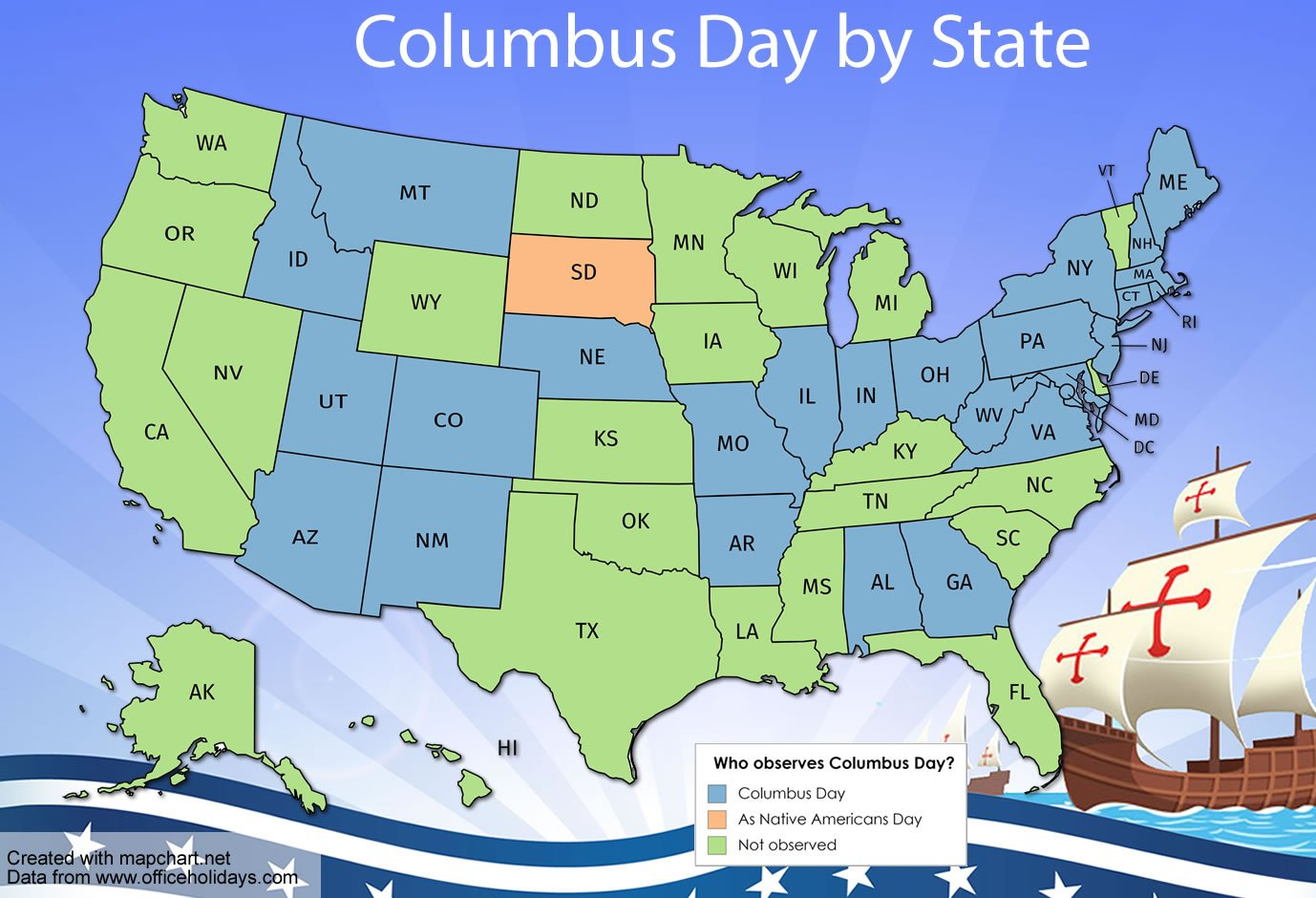 Map showing Columbus Day observance by State